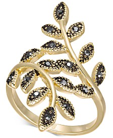 I.N.C. Crystal Leaf Wrap Ring, Created for Macy's