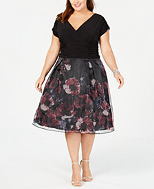 SL Fashions Plus Size Ruched Floral Organza Dress