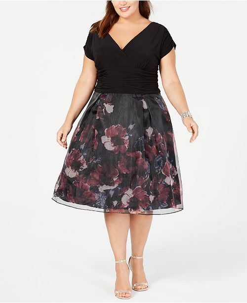 SL Fashions Plus Size Ruched Floral Organza Dress ...