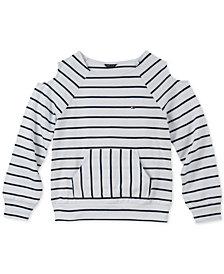 Tommy Hilfiger Big Girls Striped Cold Soulder Sweatshirt