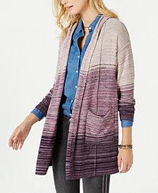 Style & Co Petite Printed Hooded Cardigan, Created for Macy's