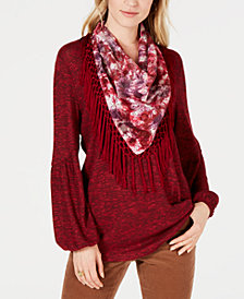 Style & Co Tassel-Trim Scarf Top, Created for Macy's