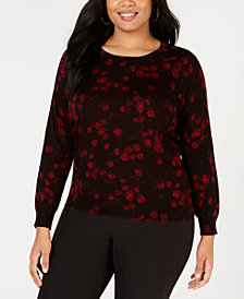 MICHAEL Michael Kors Plus Size Rose-Print Sweater