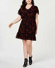 MICHAEL Michael Kors Plus Size Eden Rose Ruffled Dress
