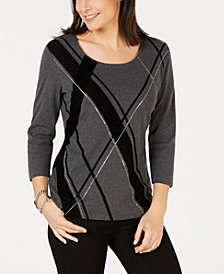 Karen Scott Diagonal Argyle-Print Top, Created for Macy's