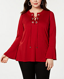 MICHAEL Michael Kors Plus Size Lace-Up Bell-Sleeve Tunic