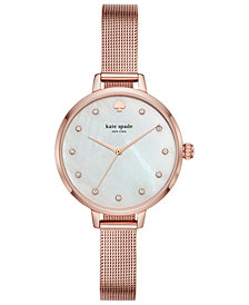 kate spade new york Women's Metro Pink Gold-Tone Stainless Steel Mesh Bracelet Watch 34mm
