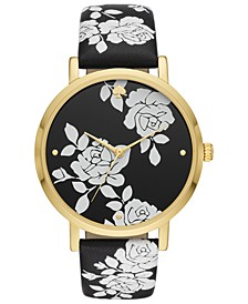 Women's Metro Black Floral Leather Strap Watch 38mm
