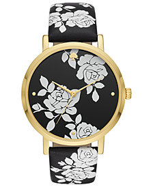 kate spade new york Women's Metro Black Floral Leather Strap Watch 38mm