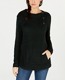 Style & Co Petite Envelope-Collar Kangaroo-Pocket Sweater, Created for Macy's