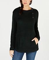 850d1bdede2 Style   Co Petite Envelope-Collar Kangaroo-Pocket Sweater