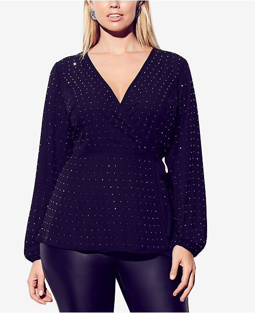 City Chic Plus Size Stud-Embellished Surplice Top
