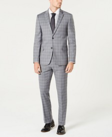 Men's Modern-Fit TH Flex Stretch Gray/Blue Plaid Suit