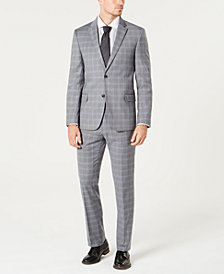 Tommy Hilfiger Men's Modern-Fit TH Flex Stretch Gray/Blue Plaid Suit