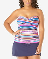 8f7a8a0df5 Anne Cole Plus Size Tankini Top   Swim Skirt