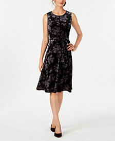 Charter Club Petite Floral-Print Velvet Dress, Created for Macy's