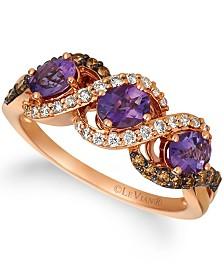 Le Vian® Grape Amethyst™ (3/4 ct.t.w.), Nude Diamonds™ (1/5 ct.t.w.), and Chocolate Diamonds® (1/4 ct.t.w.) Three Stone Ring set in 14k rose gold