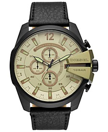 Men's Chronograph Mega Chief Black Leather Strap Watch 51mm