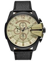 6ed3f90a022 Diesel Men s Chronograph Mega Chief Black Leather Strap Watch 51mm