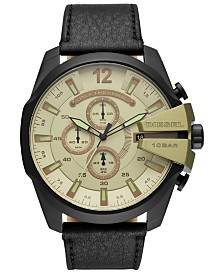 Diesel Men's Chronograph Mega Chief Black Leather Strap Watch 51mm
