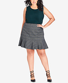 City Chic Trendy Plus Size Frill-Hem Skirt