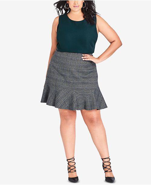 d59fa1698f4 City Chic Trendy Plus Size Frill-Hem Skirt   Reviews - Skirts - Plus ...