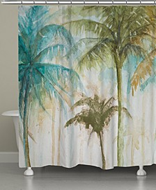 Watercolor Palms Shower Curtain