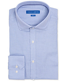 Vince Camuto Men's Slim-Fit Comfort Stretch Dobby Winter Blue Mini Check Dress Shirt