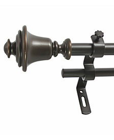 Montevilla 5/8-Inch Bell Double Telescoping Curtain Rod Set, 86 to 128-Inch, Vintage Bronze
