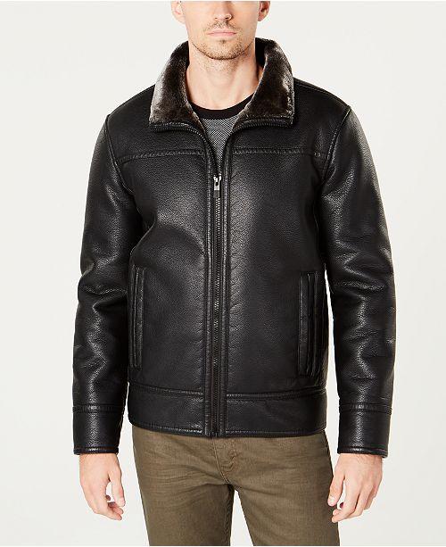 Kenneth Cole Men s Faux-Fur-Trim Faux-Leather Jacket - Coats ... 5d7963581