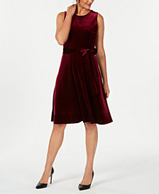 Charter Club Petite Tie-Waist Fit & Flare Dress, Created for Macy's