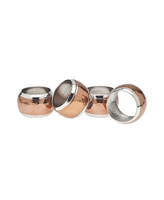Copper Hammered Napkin Rings, Set Of 4 by Godinger