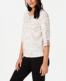 JM Collection Petite Lattice-Detail Top, Created for Macy's