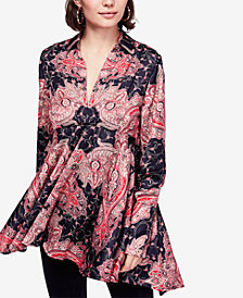 Free People Field of Butterflies High-Low Trapeze Top
