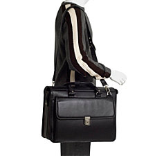 McKlein GRESHAM, Litigator Laptop Briefcase, Pebble Grain Calfskin Leather, Black