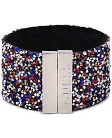 GUESS Sterling Silver Multicolor Stone Cuff Bracelet