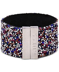 GUESS Sterling Silver Multicolor Stone Cuff Bracelet