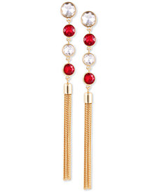 GUESS Gold-Tone Crystal & Chain Tassel Linear Drop Earrings