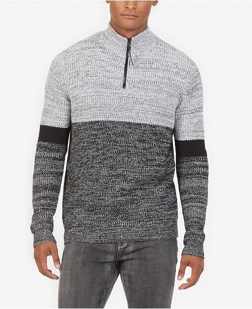 80b03c433f Kenneth Cole New York Kenneth Cole Men s Colorblocked 1 4-Zip Sweater ...