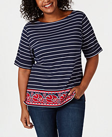 Karen Scott Plus Size Nautical-Stripe Border-Print Top, Created for Macy's