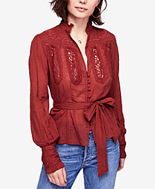 Free People Sweet Memories Crochet-Contrast Blouse