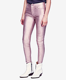 Free People Long & Lean Metallic Faux-Leather Skinny Pants