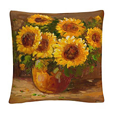 "Masters Fine Art Sunflowers Still Life 16"" x 16"" Decorative Throw Pillow"