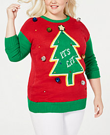 "Planet Gold Trendy Plus Size ""'It's Lit"" Light-Up Christmas Sweater"