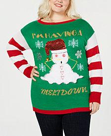 "Planet Gold Trendy Plus Size ""I'm Having A Meltdown"" Christmas Sweater"