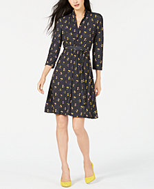 French Connected Printed A-Line Dress