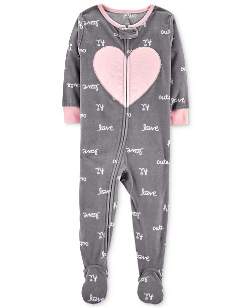 043ac0d80ae6 Carter s Toddler Girls Love-Print Footed Pajamas   Reviews ...