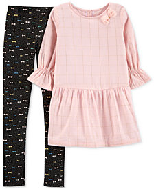 Carter's Little & Big Girls 2-Pc. Flannel Tunic & Printed Leggings Set