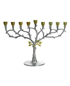 Hammered Stainless Steel Candle Menorah