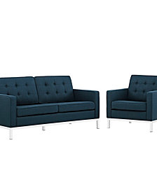 Loft Livg Room Set Upholstered Fabric Set Of 2